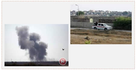 Left: The attack on the Egyptian army in the Sinai Peninsula photographed from the Gazan side of the border (Ma'an News Agency, July 2, 2015). Right: Hamas' security forces patrol along the Rafah border with Egypt (Facebook page of QudsN, July 2, 2015).