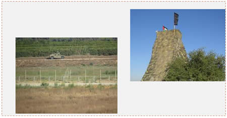 Left: IDF forces near the border, as seen from the observation post. Right: The observation post (Paltoday, July 5, 2015).