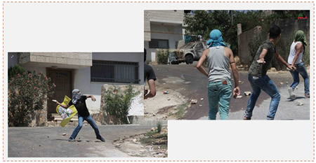 Left: A Palestinian on the background of a Fatah flag throws a rock at Israeli security forces in Kafr Qaddum (Facebook page of the village of Qaddum, August 21, 2015). Right: Palestinians throw stones at Israeli security forces in Kafr Qaddum (Wafa News Agency, August 21, 2015).