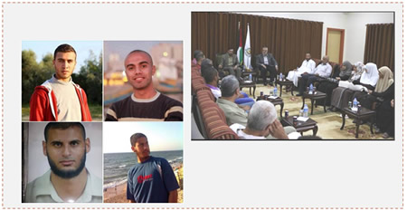Left: The four abducted Palestinians (clockwise from the upper left picture): Abu al-Jbein, Abd al-Dayim Abu Libda, Hussein al-Zibda and Abdallah Yassir Zanun (Facebook page of PALDF, August 24, 2015). Right: Ismail Haniya, deputy head of Hamas' political bureau, meets in his office with family members of the four Gazans abducted in the Sinai Peninsula (Facebook page of Filastin al-'Aan, August 21, 2015).