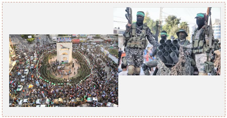 Left: The new square in Rafah named for the three terrorist operatives. Right: The march held by Hamas' military-terrorist wing in Rafah (Facebook page of Quds.net, August 22, 2015).