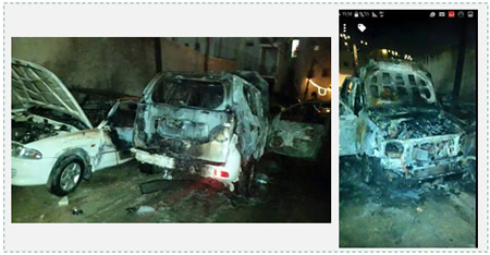 A Border Police jeep after it was hit by a Molotov cocktail in the A-Tor neighborhood of east Jerusalem (Facebook page of Quds.net, August 26, 2015). The fire engine that arrived to extinguish the blaze was stoned.