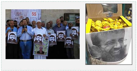 "Left: Relatives of Palestinian prisoners at their weekly rally in front of Red Cross headquarters in the Gaza Strip note the ""victory"" of Khader Adnan (Paltoday, June 29, 2015). Right: Candy in a box bearing the picture of Khader Adnan (Facebook page of PALDF, June 29, 2015)."