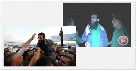 Left: Khader Adnan received by local residents in Arabeh, his home village, south of Jenin (Facebook page of PALDF, July 12, 2015). Right: Khader Adnan at a reception held by Palestinian coordination and liaison figures upon his release by Israel (Ma'an News Agency, July 12, 2015).