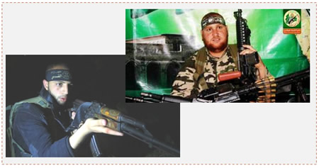 Left: Muhammad Shahin, PIJ terrorist operative (Facebook page of the Jerusalem Brigades, September 3, 2015). Right: Hamas naval unit operative Khader al-Bahri (Hamas website, September 6, 2015).