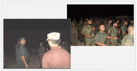Left: Naim al-Ghoul (left), commander of the national security forces in the Gaza Strip, delivers a speech to the military course participants in Rafah (Facebook page of the national security forces in the Gaza Strip, September 7, 2015). Right: National security forces conduct an exercise during a military course that included the simulation of a night attack on an IDF post (Website of the ministry of the interior, September 2. 2015).