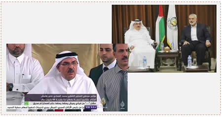 Left: Mohammad al-Emadi, head of the Qatari Committee to Rebuild Gaza, holding a press conference in Gaza during which he announced the launch of additional projects for rebuilding the Gaza Strip, in the sum of USD 60 million (Al-Jazeera TV, September 10, 2015). Right: Ismail Haniya meeting in Gaza with Mohammad al-Emadi (Filastin Alan, September 10, 2015).