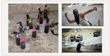 Left: Molotov cocktails ready for throwing, found on the roof of a house in the A-Tor neighborhood of east Jerusalem (Facebook page of the Israel Police Force, October 7, 2015). Right: Palestinians throw stones at IDF Spokesman (Wafa News Agency, October 5, 2015; Facebook page of QudsN, September 21, 2015).