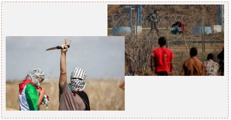 Left: masked Palestinian wields a knife near the border security fence (Facebook page of Gaza al-'Aan, October 9, 2015). Right: Palestinians near the border security fence (Wafa News Agency, October 9, 2015).