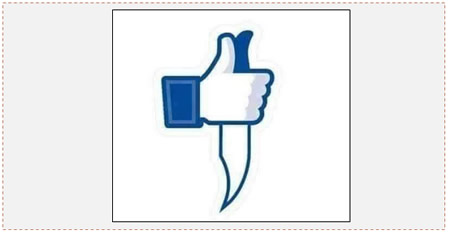 "The Facebook ""like"" holds a knife (Facebook page of Abu Hamza, October 13, 2015)."