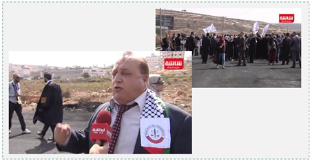 Left: Hussein Shabaneh, chairman of the PA bar association. Right: PA attorneys demonstrate at the Courthouse Roadblock, near Beit El (YouTube, October 12, 2015).