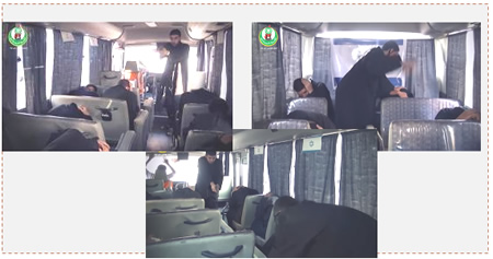 Scene from the video produced the Islamic Bloc simulating the terrorist attack on the number 78 bus in Jerusalem (Hamas' Islamic Bloc in western Gaza City, October 14, 2015).
