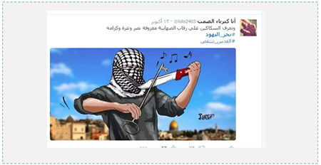 "Tweet cartoon of a Palestinian playing on a knife instead of a violin with a key (representing the so-called ""right of return"" of the Palestinian refugees to Israel). The Arabic reads, ""[Our] knives play a tune of victory, praise and honor on the throats of the Zionists""  (Twitter account of أنا كبرياء الصمت ‏ @lolo2403, October 13, 2015)."