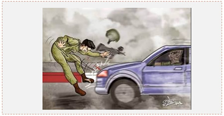 Hamas incitement to run over IDF soldiers (Facebook page of PALDF, October 22, 2015)