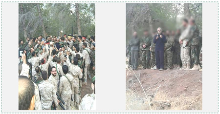 Qasem Soleimani briefs fighters (apparently Hezbollah), probability in the region of Latakia, after the beginning of the ground offensive in northern Syria (Facebook, October 13, 2015).