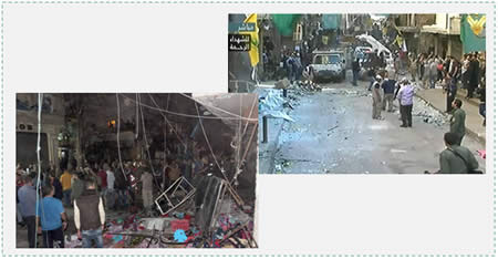 The scene of the attacks in the neighborhood of Burj al-Barajneh, in Beirut's southern Shi'ite suburb, which is controlled by Hezbollah (Al-Manar TV, November 12 and 13, 2015)
