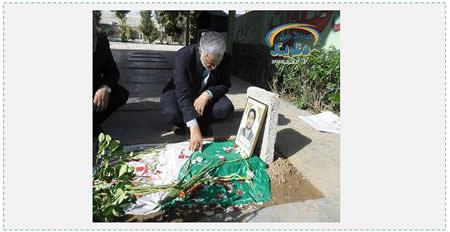 Qasem Soleimani, Qods Force commander, at the grave of an IRGC fighter killed in Syria (Afsaran.ir, April 14, 2015).