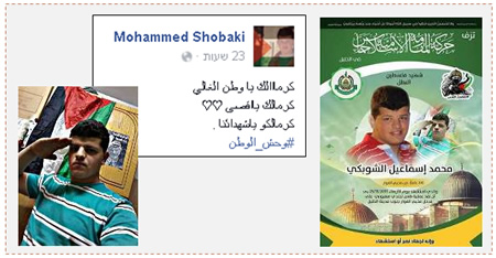 "Left: Posting on Muhammad al-Shoubaki's Facebook page about half an hour before the attack. The Arabic reads, ""You are honored, dear homeland… You are honored, Al-Aqsa… You are honored, our shaheeds#youth_the homeland"" (Facebook page of the Al-Fawar refugee camp, November 25, 2015). Right: The death notice issued by Hamas – Hebron for Muhammad al-Shoubaki (Facebook page of the Islamic Movement in Hebron, November 25, 2015)."