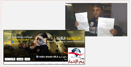 Left: Facebook page of Radio Dream in Hebron after the station was shut down (Facebook page of Radio Dream in Hebron, November 30, 2015). Right: The director of Radio Dream in Hebron holds the order closing the station (A'inab website, November 29, 2015).