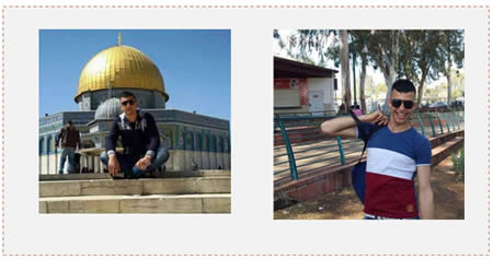 Left: Ihab Fathi Zakaria Masouda on the Temple Mount. Right: Ihab Fathi Zakaria Masouda at the National Park in Ramat Gan, Israel (Facebook page of PALDF, December 7, 2015).