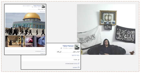 "Left: Facebook page of Taher Fanoun half an hour before the attack. The Arabic reads, ""Be ashamed for stopping…"" The pictures are of the Israeli security forces on the Temple Mount and two female Palestinian terrorists who were killed while carrying out attacks (Facebook page of Taher Fanoun, December 4, 2015). Center: Posting ten minutes before he and his cousin carried out the attack. The Arabic reads, ""Hello…and goodbye"" (Facebook page of Taher Fanoun, December 4, 2015). Right: Taher Fanoun with Islamic Caliphate flags (Facebook page of Taher Fanoun, June 2, 2015)."