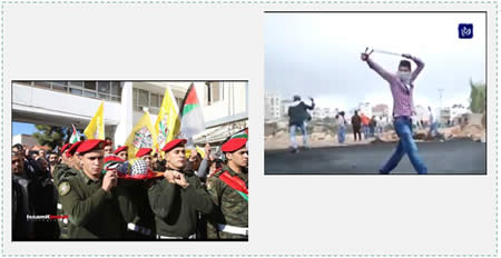 Left: The military funeral held for Mahmoud Sayyid Alian. Operatives of the Palestinian national security forces carry his body. Right: Mahmoud Sayyid Alian, 20 from the village of Anata, who was wounded during a riot near Beit El and later died (Picture from the Jordanian TV network Roya and reposted to the Facebook page of Anata News, November 20, 2015). He was a Fatah operative and had been on the front lines of many previous riots.