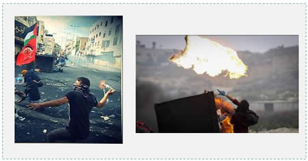 Left: Palestinians throw Molotov cocktails at IDF forces in Bab al-Zawiya in Hebron (Facebook page of QudsN, October 10, 2015). Right: A Palestinian throws a Molotov cocktail during a riot in Al-Bireh (Wafa News Agency, November 16, 2015).