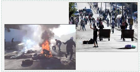 Left: Palestinian rioters burn tires near the security fence in Abu Dis (Facebook page of PALDF, December 5, 2015). Right: Palestinian rioters confront IDF forces in Bethlehem (Wafa News Agency, December 4, 2015).