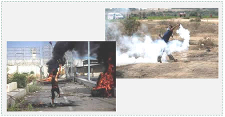 Left: Gazans riot at the Erez crossing (Facebook page of Quds Net, October 23, 2015). Right: Gazans riot against the IDF near the border security fence of the community of Nahal Oz (Facebook page of Shihab, October 23, 2015).