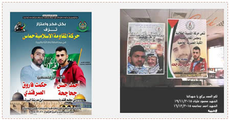 Left: The death notice issued by Hamas for Hikmat al-Sarafandi (right) and Mahmoud Alian (left, killed during a riot near Beit El on November 11, 2015) (Facebook page of Hamas in Nablus, December 16, 2015). Right: The death notice issued by Fatah's Shabiba movement in the Modern Academic College in Ramallah for the death of Hikmat al-Sarafandi next to the death notice of Mahmoud Alian, both students at the college (Facebook page of the Modern Academic College, Ramallah, December 16, 2015).