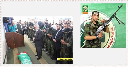Left: Ismail Haniya attends Mahmoud Muhammad al-Agha's funeral (Facebook page of PALDF, December 19, 2015). Right: Mahmoud Muhammad al-Agha, from Khan Yunis (Facebook page of the Shaheed Dr. Abdullah Azzam Mosque in Khan Yunis, December 20, 2015).