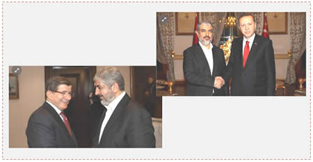 Left: Khaled Mashaal with the Turkish prime minister (Anadolu News Agency, December 21, 2015). Right: Khaled Mashaal and Turkish President Erdogan (Anadolu News Agency, December 19, 2015).