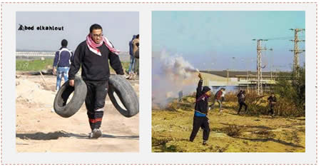 Left: Hani Wahdan carries tires to set on fire in a riot near the border security fence (Facebook page of Gaza al-A'an, December 26, 2015). Right: Riots near the Erez crossing (Facebook page of Quds.net, December 26, 2015).