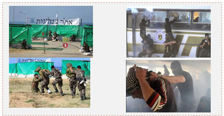 "Graduation exercises. Left: Simulating a raid on an Israeli military base called ""Leadership site"" and abducting a soldier through a tunnel. Right: Hijacking a bus  (Facebook page of PalInfo and the Palestinian ministry of the interior, January 11, 2016)."