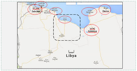 Locations of ISIS presence and control in Libya. It has territorial control over the square outlined in black. Outlined in red are large cities where ISIS is present but not in control, while Misrata and Ajdabiya are on its agenda (Google Maps).