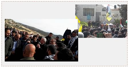 Left: Mahmoud al-'Alul, a senior Fatah figure, eulogizes Amjad Jaser Sukari. Next to him, with his back to the camera, is Akram Rajoub, the governor of the Nablus district (Facebook page of Mahmoud al-'Alul, February 1, 2016). Right: The funeral held for Amjad Jaser Sukari. His body was wrapped in the Palestinian and Fatah flags (Facebook page of Quds, February 1, 2016).