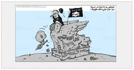 "Cartoon issued by Fatah's information bureau and published in the London-based Al-Quds al-Arabi. It likens Israeli Prime Minister Benyamin Netanyahu to ISIS. The dove whose head Netanyahu is knocking off is the two-state solution, and the ""ISIS flag"" reads ""The Jewish State."" The Arabic in the upper right-hand corner reads, ""Netanyahu: No new withdrawals from the Palestinian territories"" (Website of Fatah's information bureau, January 31, 2016)."