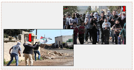 Left: Mahmoud Walawil demonstrates with Palestinians holding stones (Wafa, February 26, 2016). Right: Mahmoud Walawil marching at the head of the demonstrators  (Facebook page of Qadoum, February 26, 2016).