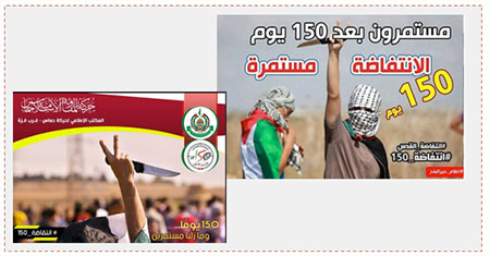 "Left: The Arabic reads, ""150 days and we continue"" (Facebook page of Hamas' public activity network in the western Gaza Strip, February 27, 2016). Right: Hamas encourages stabbing attacks. The Arabic reads, ""Continuing after 150 days. The intifada continues""  (Facebook page of Paldf, February 19, 2016)."