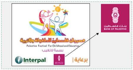 Left: Credits from the video produced for the Palestine Festival for Childhood and Education: Interpal and the Bank of Palestine, the festival sponsors. Right: The Bank of Palestine logo (YouTube, April 4, 2016).