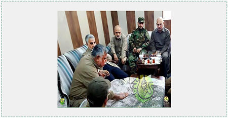 Qasem Soleimani, second from left, in the operations room of the Shi'ite militias engaged in fighting alongside the Iraqi army to take control of Fallujah (Qasemsoliemani.ir, May 23, 2016).