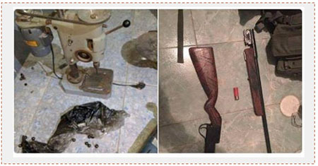 Rifle and lathe used to manufacture weapons found by the IDF in the village of Azzun  (Twitter account of Palinfo, June 22, 2016).