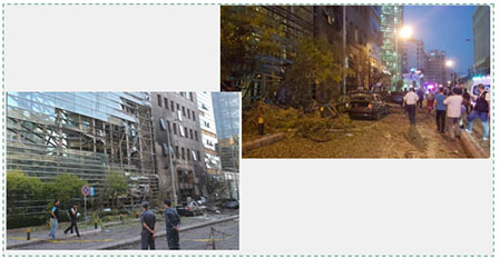 Left: The damaged façade of the bank building the day after the explosion (Al-Youm Al-Sabaa, June 13, 2016). The scene of the explosion in western Beirut (Twitter account of Adel Samia, June 12, 2016).