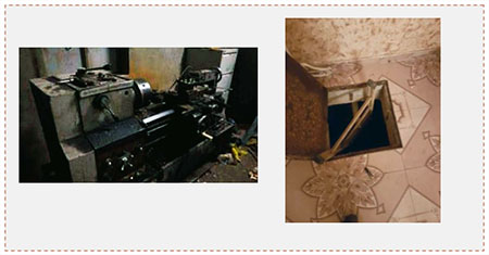 Left: One of the lathes seized by the Israeli security forces. Right: A trap door in a floor leading to a workshop where weapons were manufactured (IDF spokesman, July 11, 2016).