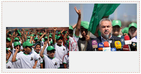 "Left: Children wear Hamas shirts and green hats at the opening ceremony. Right: Ismail Radwan announces the opening of Hamas ""Al-Quds intifada"" summer camps (Hamas website, July 11, 2016)."