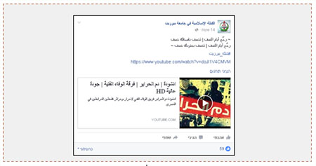 The Facebook posting of the Islamic Bloc in Beit Zeit with a link to the video (July 11 ,2016).