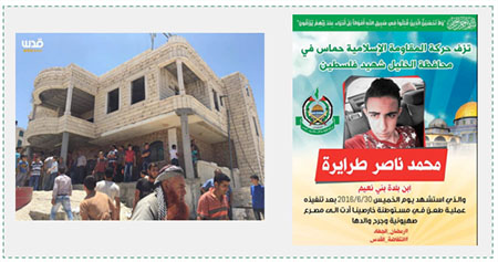 "Left: Residents of Bani Na'im gather at the house of Muhammad Tarayrah before IDF forces arrive (Facebook page of QudsN, June 30, 2016). Right: The death notice issued by the Hamas movement in Hebron for the death of Muhammad Tarayrah, a ""shaheed of Palestine"" from the village of Bani Na'im (Facebook page of the Hamas movement in Hebron, July 1, 2016)."