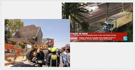 Making vehicular attacks more lethal. Left: Caterpillar front loader used in a vehicular attack in Jerusalem, July 2, 2008. Three people were killed and 70 wounded (Israeli Government Press Office, July 2, 2008). Right: Refrigerator truck used in the terrorist attack in Nice where 84 people were killed and 200 wounded (Twitter, July 14, 2016).