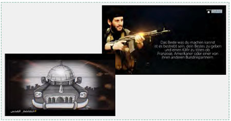 "Left: Picture from a Hamas video encouraging vehicular attacks as a way to liberate Al-Aqsa mosque (Facebook page of the Hamas movement in Ramallah and al-Bireh, May 4, 2016) Right: ISIS call in German to kill ""infidels,"" American, French or their allies (Akhbar Dawlat al-Islam, April 16, 2016)."