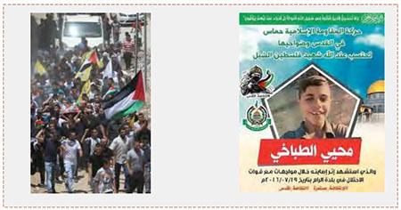 Left: The funeral held for Muhi al-Tabakhi in al-Ram; the yellow Fatah flag is in evidence (Wafa, July 20, 2016). Right: The death notice issued by Hamas for Muhi al-Tabakhi (Facebook page of Hamas in Jerusalem, July 20, 2016). Apparently the boy's death occurred during a local dispute.